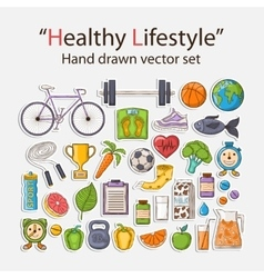 Healthy lifestyle sticker set vector
