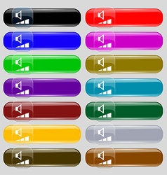 Volume sound icon sign big set of 16 colorful vector