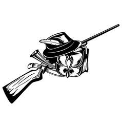 Hunting bag rifle and hat vector