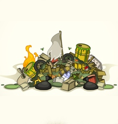 Pile of various garbage vector
