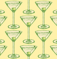 Sketch martini glass with olive in vintage style vector