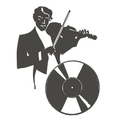 Male violinist playing the violin vector