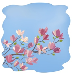 Magnolia branch with flowers and leaves vector
