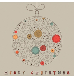 Christmas patterned bauble card vector