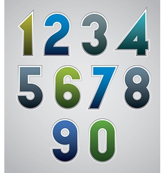 Numbers bold numerals made in web buttons style vector