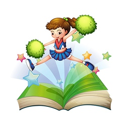 A book with a cute cheerdancer jumping vector