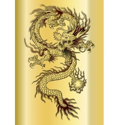 Chinese dragon on a gold background vector
