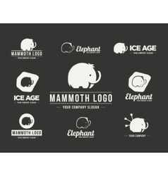 Mammoth silhouette logo set vector