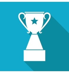 Flat white trophy vector