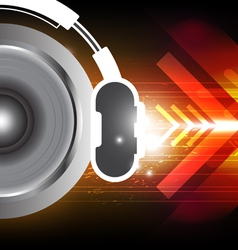 Power of sound from headphone vector