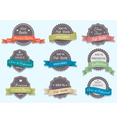 Premium quality labels in retro colors vector