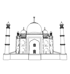 Taj mahal outlines in very high detail 3d vector
