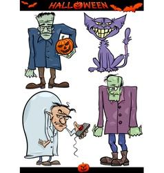 Halloween cartoon creepy themes set vector