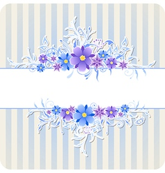 Decorative background with blue flowers vector