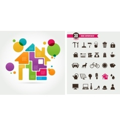 Home - infographics and icon set vector