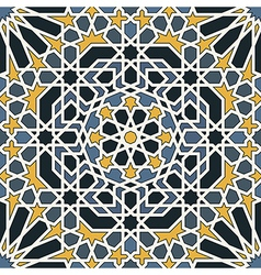 Arabesque seamless pattern in blue and yellow vector