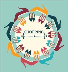 Flat shopping women high heels shoes vector