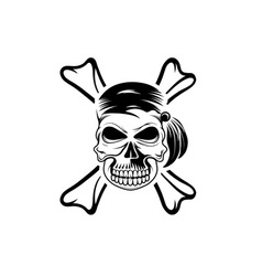 Pirate skull with bones vector