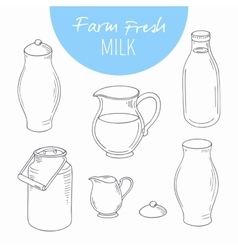 Set of sketchy dairy farm objects vector