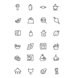 Food hand drawn outline icons 8 vector