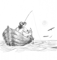 Fisherman drawing vector