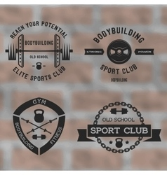 Bodybuilding black label set vector