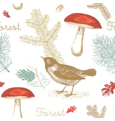Vintage forest birds pattern vector