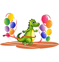 A crocodile walking between balloons vector