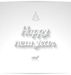 Happy new year white handwriting greetings vector