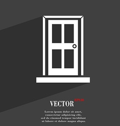 Door icon symbol flat modern web design with long vector