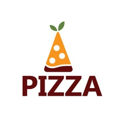 Slice of pizza with leaves design template vector