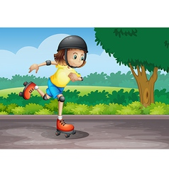 A young girl rollerskating at the street vector