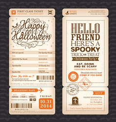 Halloween party vintage style boarding pass ticket vector