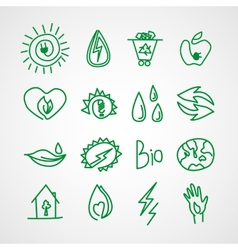 Hand drawn ecology icons doodles vector