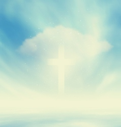 Christian glowing cross vector