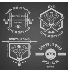Bodybuilding white label set vector
