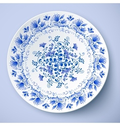 White plate in gzhel style vector