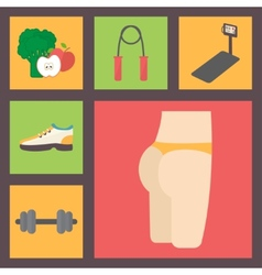 Fitness sport equipment caring figure diet icons vector