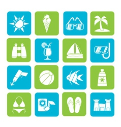 Silhouette tropic and summer icons vector