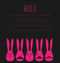 Greeting card with rabbits vector