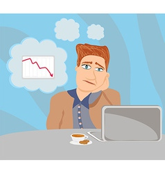 Sad and thoughtful businessman sitting and using a vector