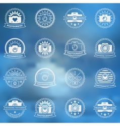 Camera icons or labels set vector