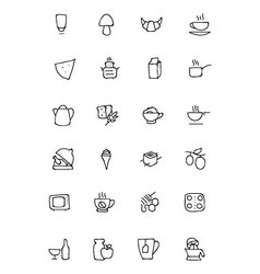 Food hand drawn outline icons 9 vector
