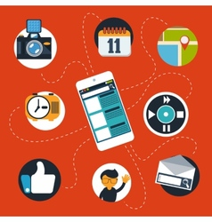Smartphone with social web and media icons vector