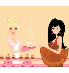 A woman buying cake at a bakery store vector