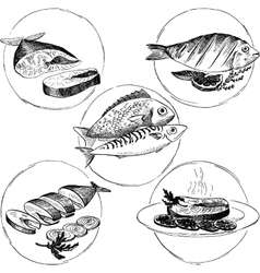 Set of hand drawn fish dishes vector