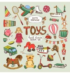 Happy birthday toys set vector