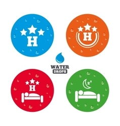 Three stars hotel icons travel rest place vector