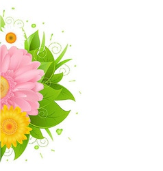 Flower and leaves with grass vector