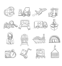 Logistics sketch set vector